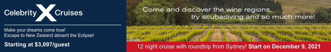 Discover the wine region with Celebrity Cruises december 9, 2021. Escape to New Zealand aboard the Eclipse.